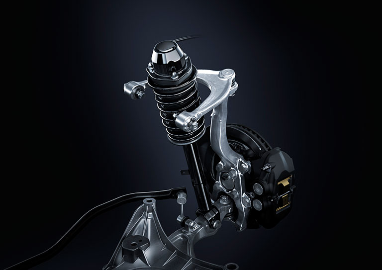 Gros plan d'une suspension Lexus F Sport