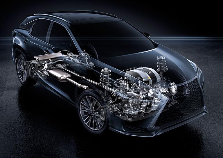 Radiographie d'un groupe propulseur à traction intégrale de Lexus