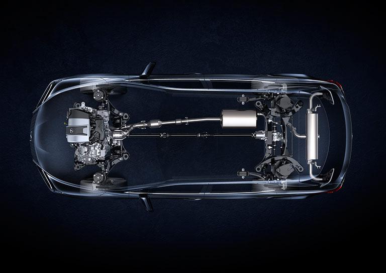Radiographie vue de dessus d'un système d'alimentation Lexus